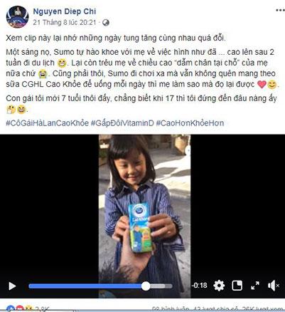 MC Diệp Chi khoe con gáicao lên hẳn 1 cm trong video.