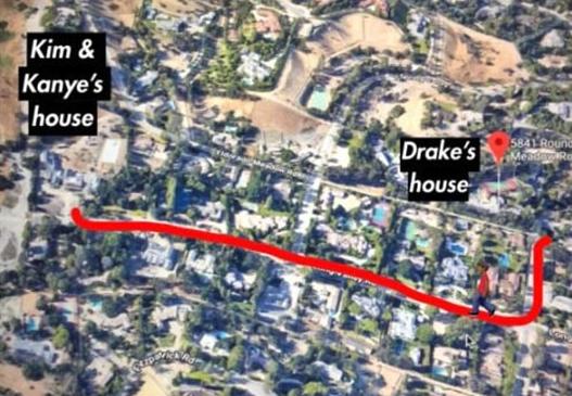 Bản đồ đoạn đường giữa nhà Drake và Kim Kardashian ở Los Angeles.