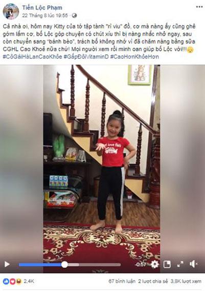 Con gái của diễn viên Tiến Lộc diện chiếc quần co ngắn cũn vì chiều cao tăng trong video bố Tiến Lộc đăng lên Facebook.
