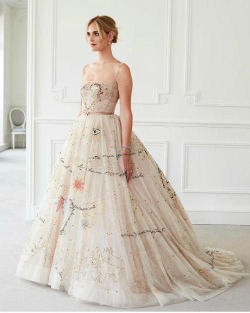 Chiếc váy thứ hai mà Chiara Ferragni mặc trong lúc đón khách mang nét đẹp trẻ trung, hiện đại. Đây là chiếc váy nằm trong bộ sưu tập đầu tiên của Grazia Chiuri cho Dior.Ảnh:Dior