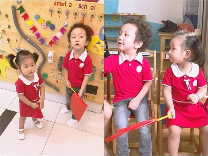 Trên trang cá nhân, Thu Hương - bà xã Tuấn Hưng - đăng tải ảnh hai con nhỏ diện đồng phục đến trường.