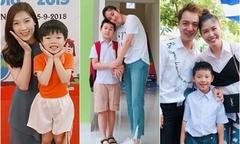Sao Việt đưa con đi khai giảng năm học mới