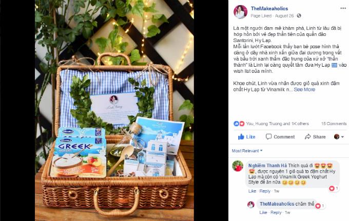 Trên fanpage TheMakeaholics, các fan củabeauty blogger Linh Trương cũng bàn tán về giỏ quà làm đẹp từ trong ra ngoài được cô chia sẻ.Với thành phần dinh dưỡng dồi dào, Vinamilk Greek Yoghurt Style được Hoa hậu Kỳ Duyên và nhiều hotgirl chọn là món ăn vặt, ăn xếyêu thích. Với sản phẩm này,phái đẹp có thể chăm sóc cho làn da căng mịn, tươi tắn mà không lo mất dáng.