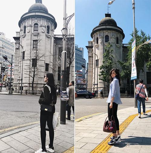 Tú Anh đăng ảnhdu lịch ở Hàn: Cùng một khung cảnh chỉ khác là người con gái ấy đã có chồng.