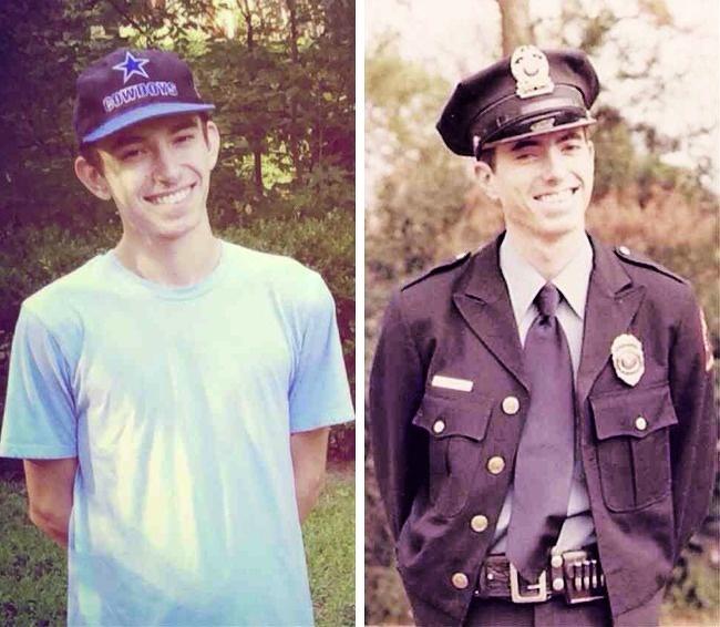 Hai cha con cùng chụp bức ảnh này khi 20 tuổi. Bức ảnh của con trai (trái) được chụp vào năm 2014 và người cha chụp ảnh năm 1977.