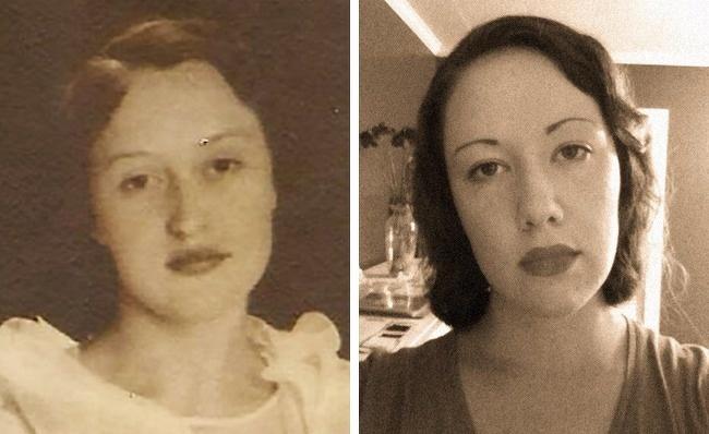 Cách nhau 80 năm, cháu gái và cụ có nhiều nét tương đồng trên khuôn mặt.