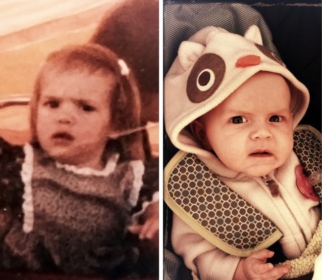 Đến cả biểu cảm của mẹ và con gái cũng giống nhau.