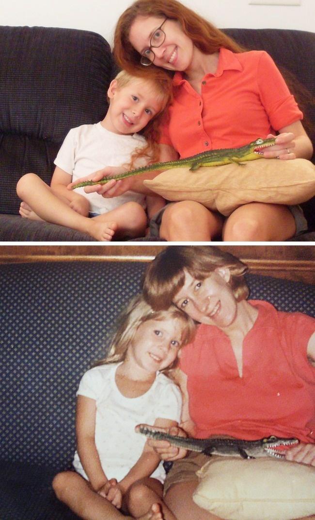 Tôi và con trai - tôi và mẹ - chủ nhân của bức ảnh viết.