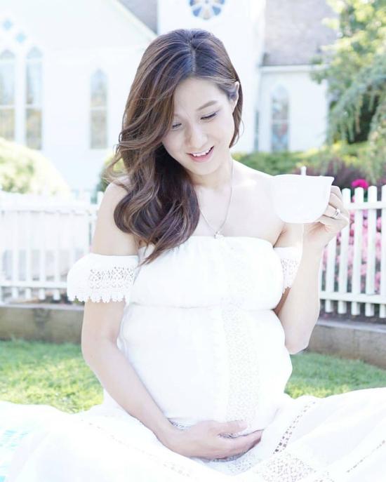 Gia Hân trong bức ảnh được chụp ở tháng cuối thai kỳ.