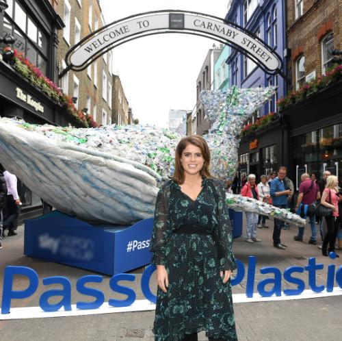 Eugenie không giấu nổi niềm phấn khích khi trở thành đại sứ của Dự án và chụp hình trước chú cá voi được làm từ rác thải nhựa. Cô kêu gọicộng đồng chung tay hành độngnhằm bảo vệ đại dương khỏi ô nhiễm.Ảnh: Instagram