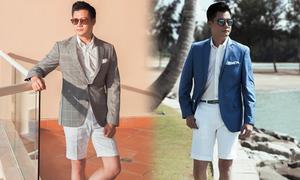 Quang Dũng phối quần short với áo vest
