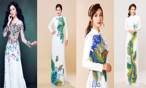 Loạt sao Việt gợi ý áo dài đính hoa và vẽ tay cho cô dâu mùa thu