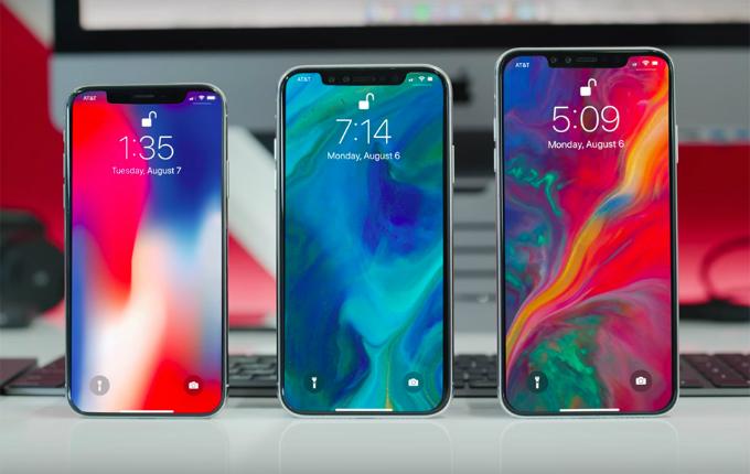 Thiết kế dựđoán củaba iPhone mới, giống iPhone X: không phím Home, nhận diện gương mặt thay vân tay, viền màn hình tai thỏ. Ảnh:TechShout.