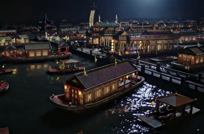 Du thuyền của vua Càn Long trong phim Như Ý truyện. Ảnh:QQ.
