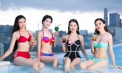 Thí sinh Hoa hậu VN diện bikini thư giãn ở bể bơi trước chung kết