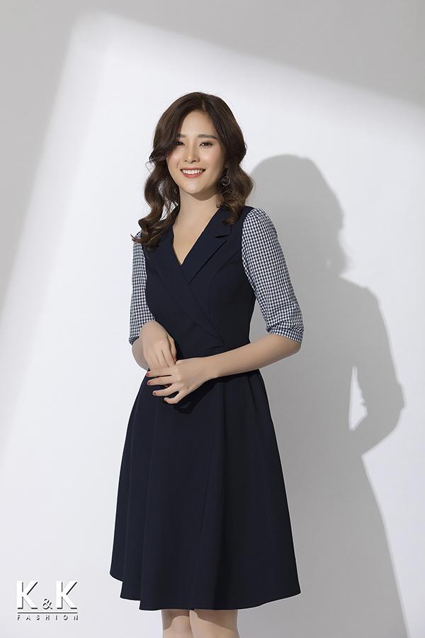 Đầm xòe tay lỡ phối họa tiết caro thanh lịch KK78-04; Giá: 420.000 VNĐ