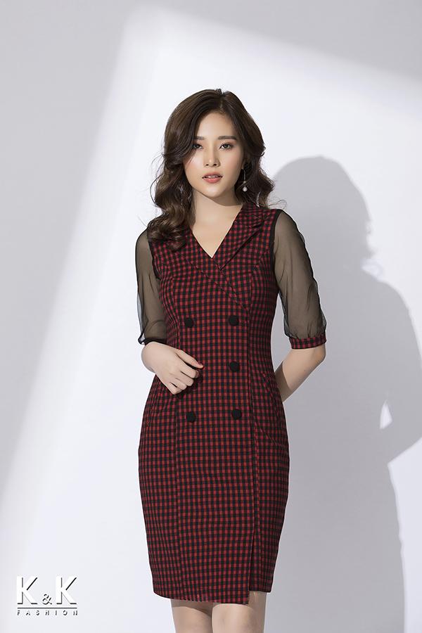Đầm công sở họa tiết caro tay phối ren sang trọng KK77-38; Giá: 440.000 VNĐ