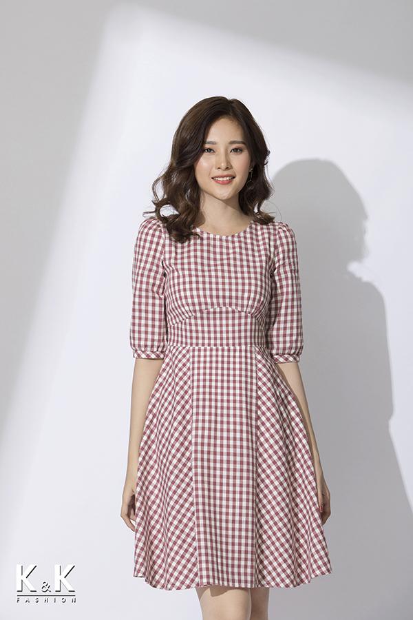 Đầm xòe họa tiết caro xinh xắn KK78-26; Giá: 430.000 VNĐ