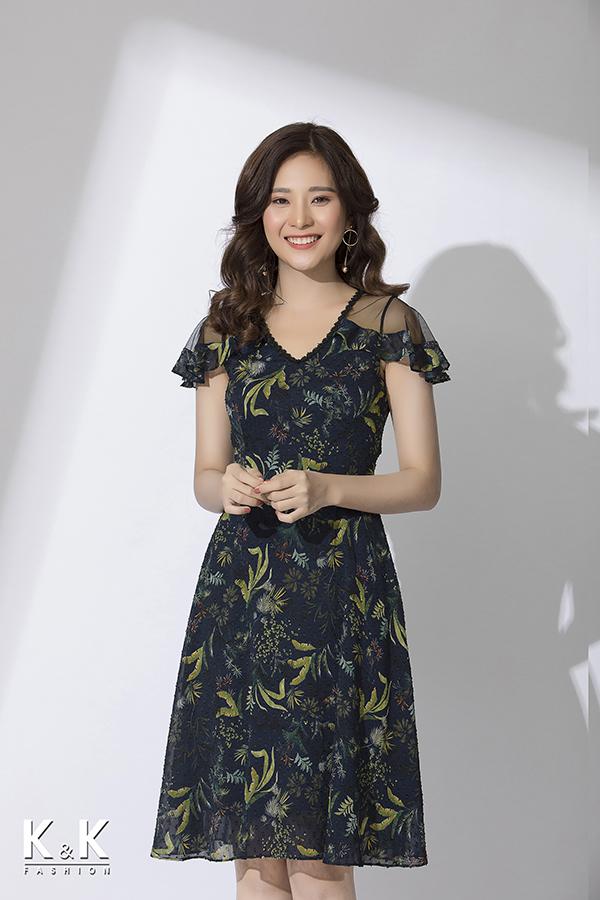 Đầm xòe họa tiết tay phối ren viền bèo điệu đà KK77-32; Giá: 430.000 VNĐ
