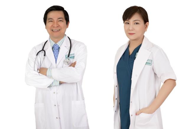 Tiến sĩ, bác sĩ Nguyễn Thanh Hải (trái) -Viện trưởng Viện thẩm mỹ Quốc tế Việt - Hàn vàThạc sĩ, bác sĩ Nguyễn La Phương Thảo (phải) -Viện phó.
