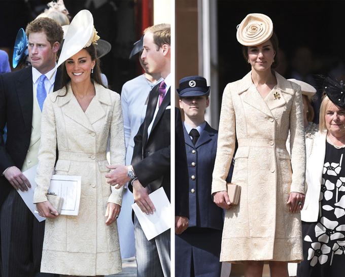Bà mẹ ba con lần đầu xuất hiện cùng trang phục này khi dự đám cưới của Laura Parker Bowles năm 2006 - trước khi cô trở thành dâu hoàng gia. Kate tiếp tục diện nó vào năm 2011 và 2016, tức 10 năm sau lần đầu tiên.