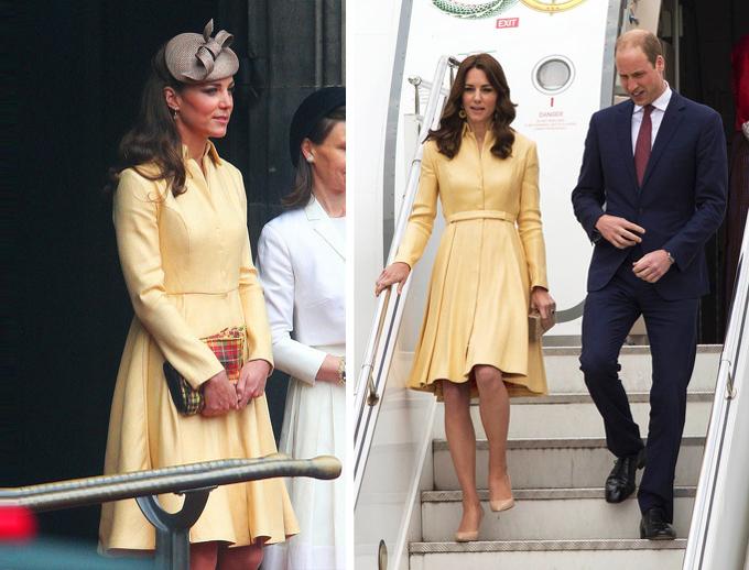 Áo choàng váy là kiểu đồ yêu thích của Nữ công tước xứ Cambridge. Trước khi đem theo item màu vàng trẻ trung này tới Bhutan năm 2016, cô đã một lần mặc nó năm 2012.