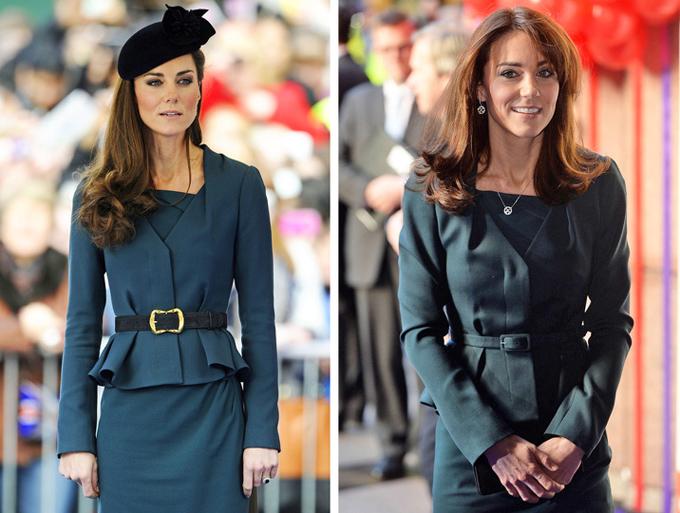 Khoác trên người cùng một bộ đầm nhưng Nữ công tước xứ Cambridge tạo được dấu ấn riêng cho mỗi lần nhờ đổi kiểu tóc, thắt lưng và trang sức.
