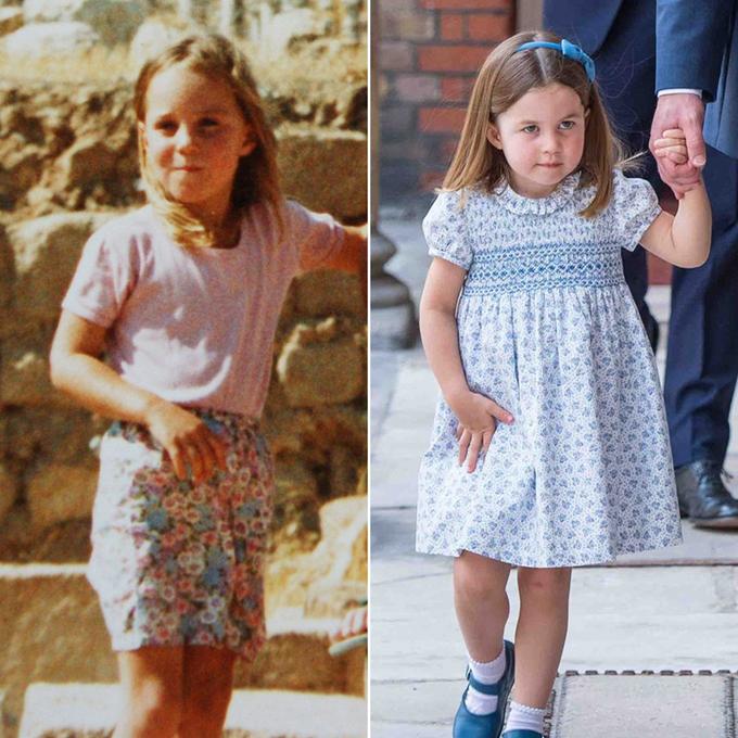 Công chúa Charlotte 3 tuổi(phải) có nhiều nét giống mẹ - Katehồi 5 tuổi(trái) trong thời gian ở Jordan cùng gia đình. Ảnh: PureWow.