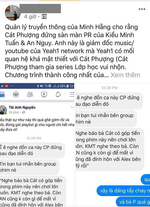 Status lan truyền trên mạng cho rằng quản lý truyền thông Minh Hằng khẳng định Cát Phượng dàn dựng scandal Kiều Minh Tuấn và An Nguy.