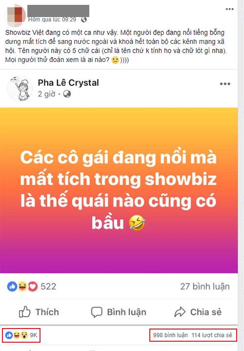Thông tin lan truyền trên mạng xã hộicho rằng Pha Lê đang ám chỉ Phạm Hương có bầu.