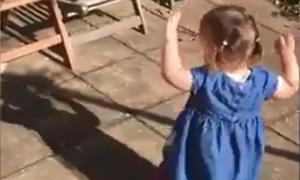 Bé gái đùa nghịch với cái bóng của mình