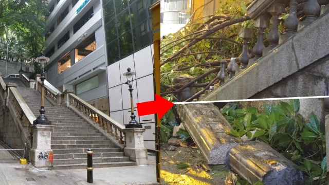 Cầu thang kinh điển trong phim TVB bị siêu bão Mangkhut phá hủy - 2