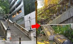 Cầu thang kinh điển trong phim TVB bị siêu bão Mangkhut phá hủy