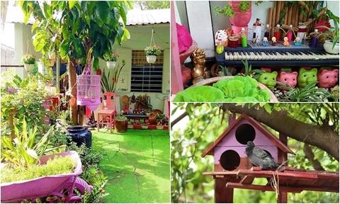 Khu vườn được trang trí bằng đồ phế liệu của mẹ hai con ở TP HCM