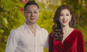 Vợ chồng Hoa hậu Áo dài Phí Thùy Linh sóng đôi dự tiệc