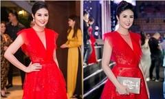 Ngọc Hân mặc một bộ váy dự event liên tiếp hai ngày
