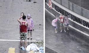 Ông bố Hong Kong lôi hai con ra giữa bão Mangkhut chụp ảnh