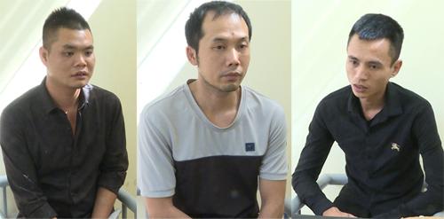 Tiến, Hà, Khánh tại cơ quan điều tra. Ảnh: CTV.