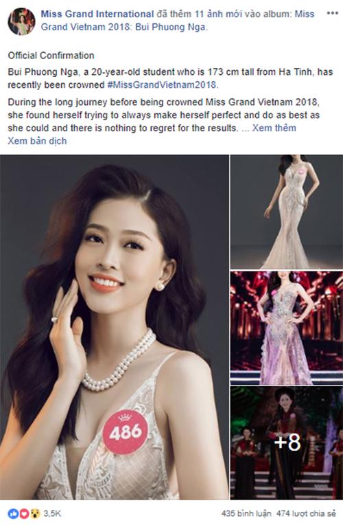 Hình ảnh và thông tin của Bùi Phương Nga được đăng tải trên fanpage chính thức của Miss Grand International 2018.