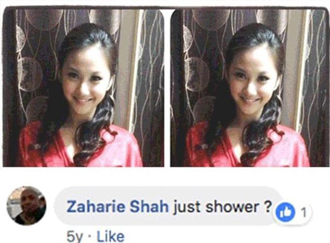 5 năm trước, Zaharie từng bình luận một bức ảnh Qi Min Lan mặc áo choàng tắm và hỏi với ý ám chỉ rằng cô gái 26 tuổi này có phải chỉ tắm thôi không. Ảnh: Facebook.