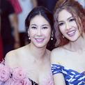 Anh Thư khoe vai trần cùng Hoa hậu Hà Kiều Anh