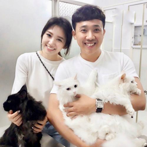 Khoảnh khắc hạnh phúc của vợ chồng Trấn Thành - Hari Won bên mèo cưng.