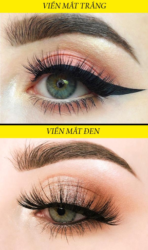 Để giúp đôi mắt trông sáng hơn, hãy dùng eyeliner màu trắng để viền mí mắt dưới. Điều này cũng tránh làm màu mắt bị lem.