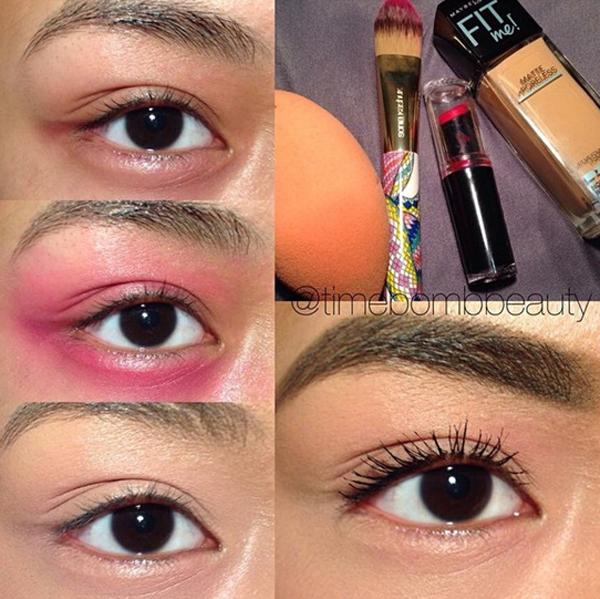 Nếu quầng thâm dưới mắt quá đậm, hãy dùng một chút son đỏ tán lên