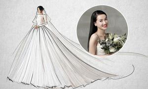 Váy cưới của Nhã Phương gồm hơn 30 lớp vải