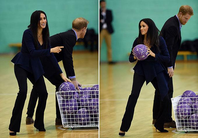 Cặp vợ chồng hoàng gia được mời tham gia một trận bóng netball trước khi lễ trao giải chính thức bắt đầu.
