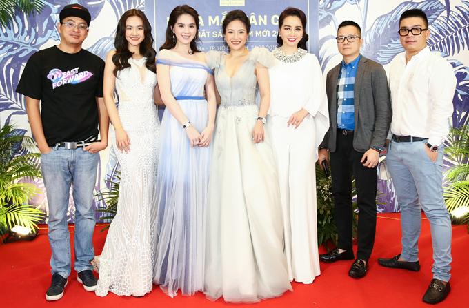 Diễn viên Mai Thu Huyền (thứ ba từ phải qua) có nhiều kinh nghiệm kinh doanh chia sẻ với Ngọc Trinh.