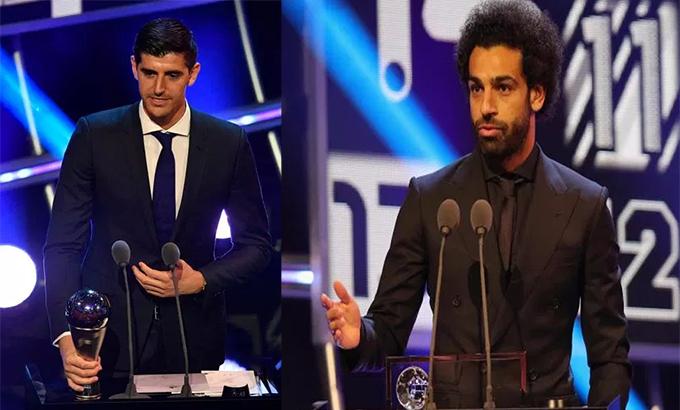 Salah và thủ môn Courtois không có tên trong đội hình tiêu biểu FIFA 2018. Ảnh: AP.