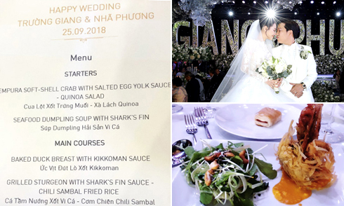 Thực đơn tiệc cưới đắt đỏ của Trường Giang - Nhã Phương