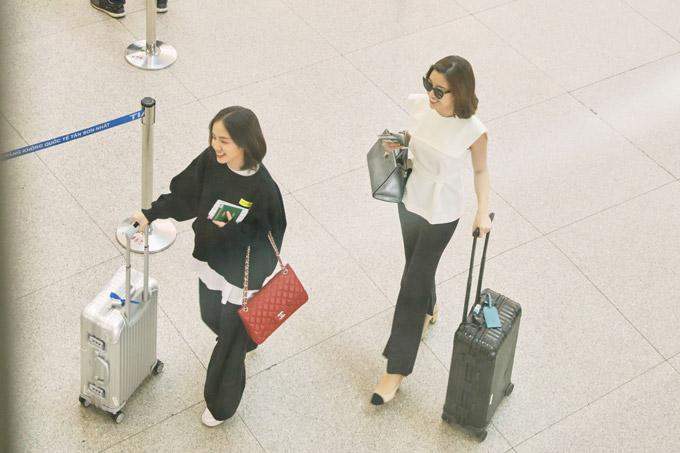 Hoa hậu Đỗ Mỹ Linh đọ mặt mộc với Phương Ly ở sân bay - 6